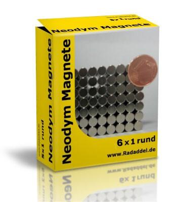 10 Neodym Magnete rund 6 x 1 mm
