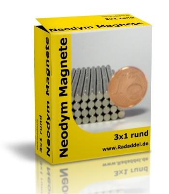 10 Neodym Magnete rund 3 x 1 mm