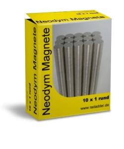 10 Neodym Magnete rund 10 x 1 mm