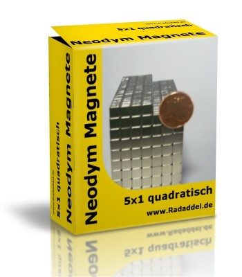 10 Neodym Magnete quadratisch 5 x 5 x 1 mm