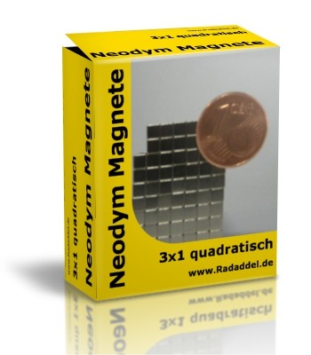 10 Neodym Magnete quadratisch 3 x 3 x 1 mm