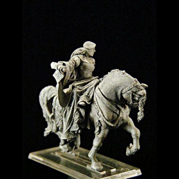 Zauberin mit Spruchrolle auf Pferd