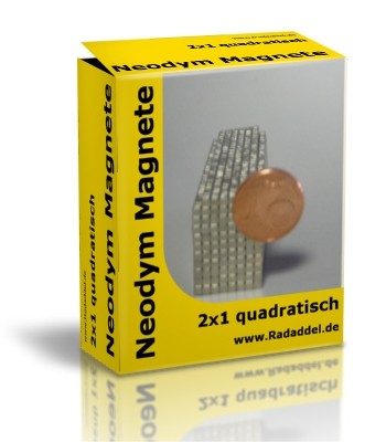10 Neodym Magnete quadratisch 2 x 2 x 1 mm